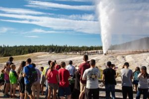 Yellowstone visitors at Old Faithful