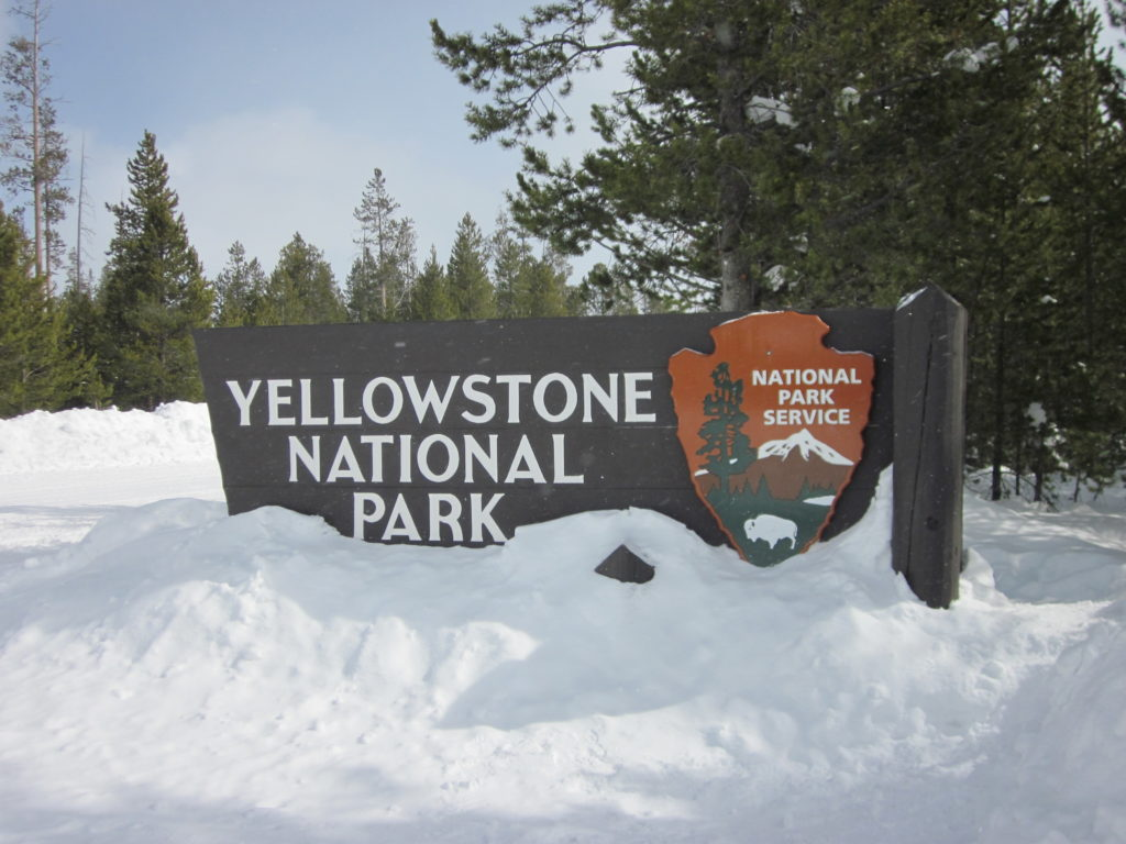 Yellowstone sign in snow