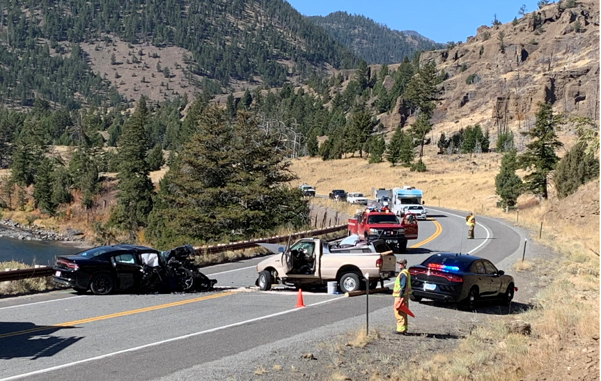 Vehicles on the North Fork Highway after 10-6 Crash