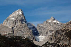 Teton Glacier at bottom is to the right of Grand Teton and left of Mount Owen
