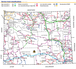 WYDOT's color-coded map of Wyoming's road priorities