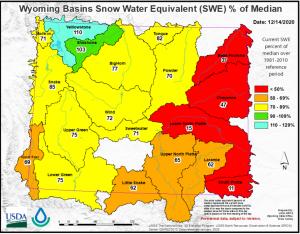 Wyoming Basins Snow Water Map, Dec. 2020
