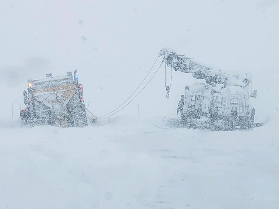 Vehicles Trapped in Snowstorm