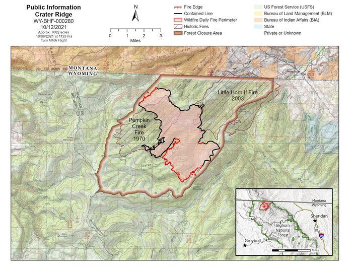 Crater Ridge Fire Map Oct. 2021