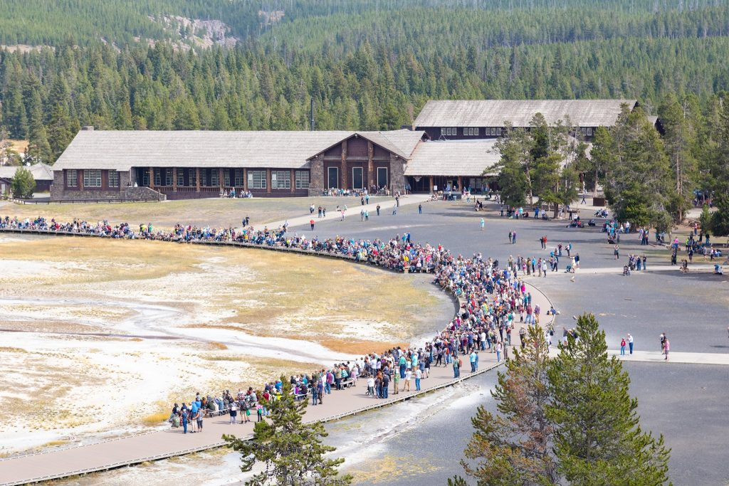 September 2021 Visitors on Old Faithful boardwalk